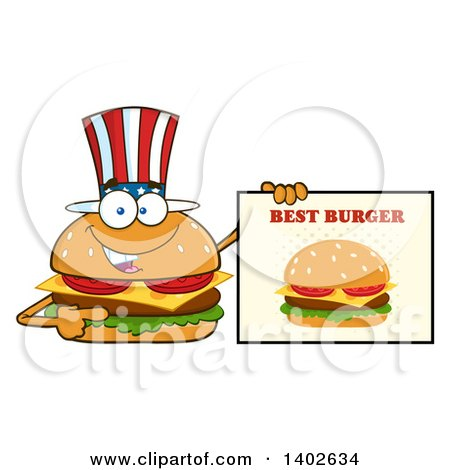 Clipart of a Patriotic American Cheeseburger Character Mascot Holding a Best Burger Sign - Royalty Free Vector Illustration by Hit Toon