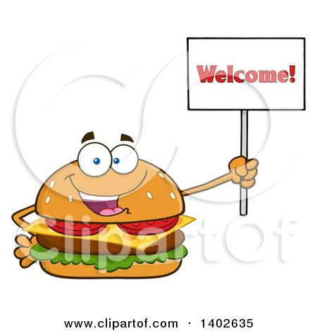 Clipart of a Cheeseburger Character Mascot Holding a Welcome Sign - Royalty Free Vector Illustration by Hit Toon