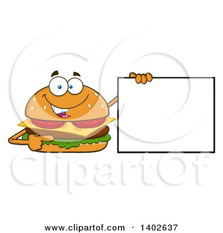 Clipart of a Cheeseburger Character Mascot Holding a Blank Sign - Royalty Free Vector Illustration by Hit Toon