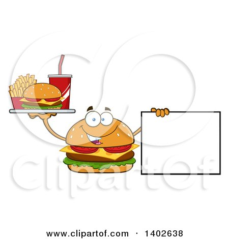 Clipart of a Cheeseburger Character Mascot Holding a Tray of Food and a Blank Sign - Royalty Free Vector Illustration by Hit Toon