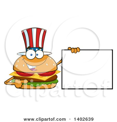 Clipart of a Patriotic American Cheeseburger Character Mascot Holding a Blank Sign - Royalty Free Vector Illustration by Hit Toon
