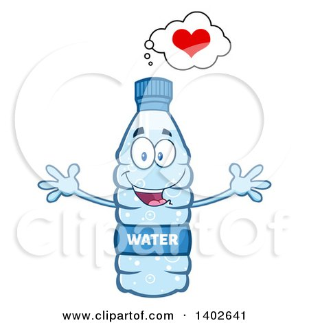 Clipart of a Cartoon Loving Bottled Water Character Mascot with Open Arms - Royalty Free Vector Illustration by Hit Toon
