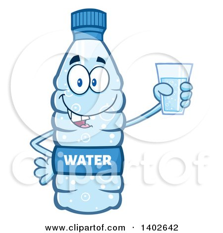 Clipart of a Cartoon Bottled Water Character Mascot Holding a Cup - Royalty Free Vector Illustration by Hit Toon
