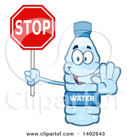 Clipart of a Cartoon Bottled Water Character Mascot Gesturing and Holding a Stop Sign - Royalty Free Vector Illustration by Hit Toon