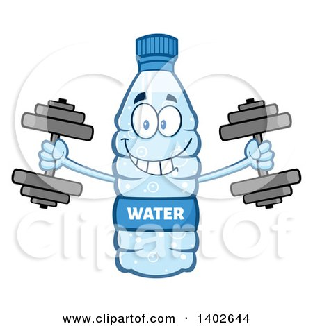 Clipart of a Cartoon Bottled Water Character Mascot Working out with Dumbbells - Royalty Free Vector Illustration by Hit Toon