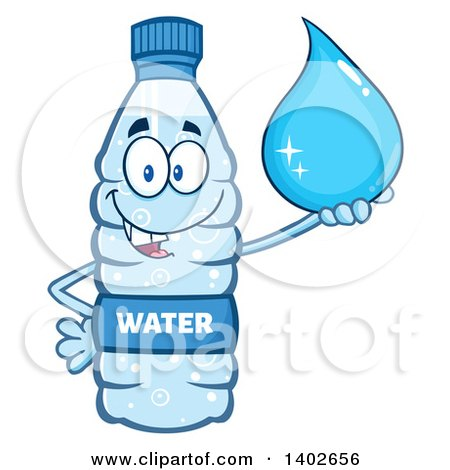 Clipart of a Cartoon Bottled Water Character Mascot Holding a Droplet - Royalty Free Vector Illustration by Hit Toon