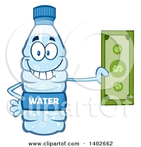 Clipart of a Cartoon Bottled Water Character Mascot Holding Cash Money - Royalty Free Vector Illustration by Hit Toon