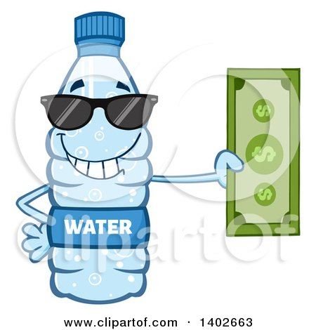 Clipart of a Cartoon Bottled Water Character Mascot Wearing Sunglasses and Holding Cash Money - Royalty Free Vector Illustration by Hit Toon
