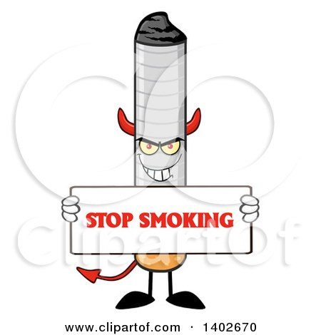 Clipart of a Cartoon Devil Cigarette Mascot Character Holding a Stop Smoking Sign - Royalty Free Vector Illustration by Hit Toon