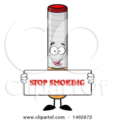 Clipart of a Cartoon Cigarette Mascot Character Holding a Stop Smoking Sign - Royalty Free Vector Illustration by Hit Toon