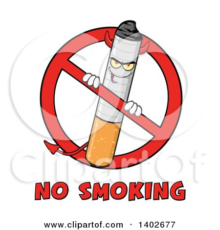Clipart of a Cartoon Devil Cigarette Mascot Character in a Prohibited Symbol over No Smoking Text - Royalty Free Vector Illustration by Hit Toon
