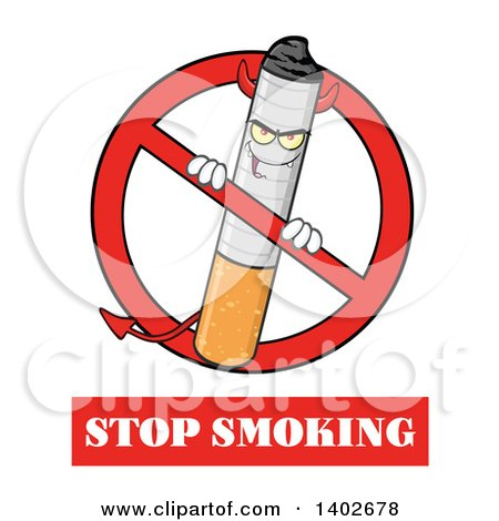 Clipart of a Cartoon Devil Cigarette Mascot Character in a Prohibited Symbol over Stop Smoking Text - Royalty Free Vector Illustration by Hit Toon