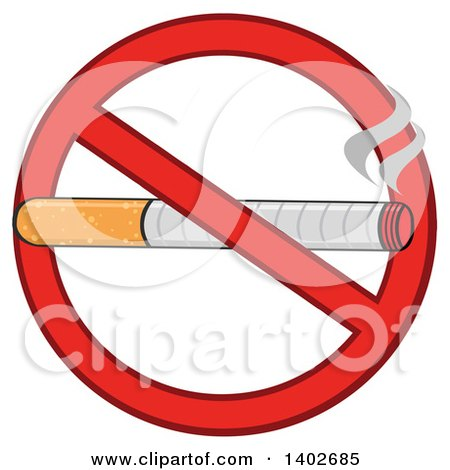 Clipart of a Cartoon Cigarette in a Prohibited Restricted Symbol - Royalty Free Vector Illustration by Hit Toon
