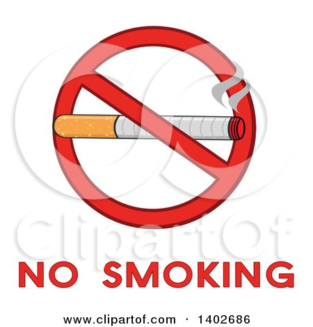 Clipart of a Cartoon Cigarette in a Prohibited Restricted Symbol over No Smoking Text - Royalty Free Vector Illustration by Hit Toon