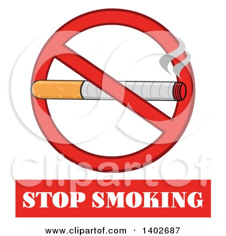 Clipart of a Cartoon Cigarette in a Prohibited Restricted Symbol over Stop Smoking Text - Royalty Free Vector Illustration by Hit Toon