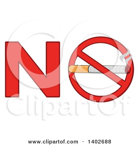Clipart of a Cartoon Cigarette in a Prohibited Restricted Symbol in the Word NO - Royalty Free Vector Illustration by Hit Toon