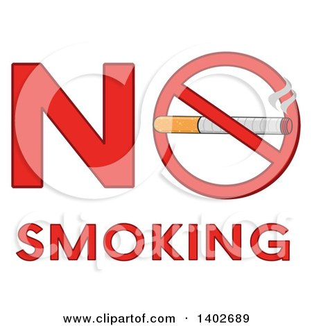 Clipart of a Cartoon Cigarette in a Prohibited Restricted Symbol in the Words NO SMOKING - Royalty Free Vector Illustration by Hit Toon