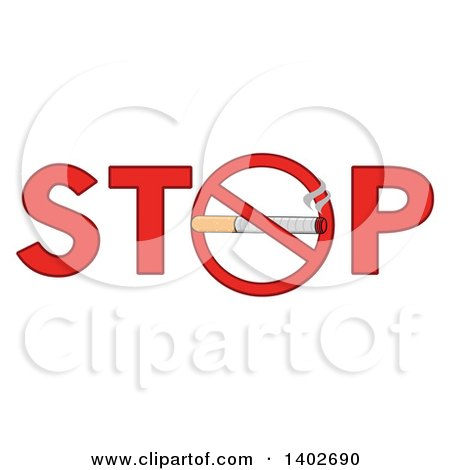 Clipart of a Cartoon Cigarette in a Prohibited Restricted Symbol As the O in the Word STOP - Royalty Free Vector Illustration by Hit Toon