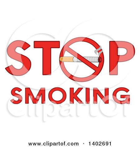 Clipart of a Cartoon Cigarette in a Prohibited Restricted Symbol As the O in the Words STOP SMOKING - Royalty Free Vector Illustration by Hit Toon