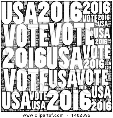 Clipart of a White Vote 2016 Word Collage on Black - Royalty Free Illustration by oboy