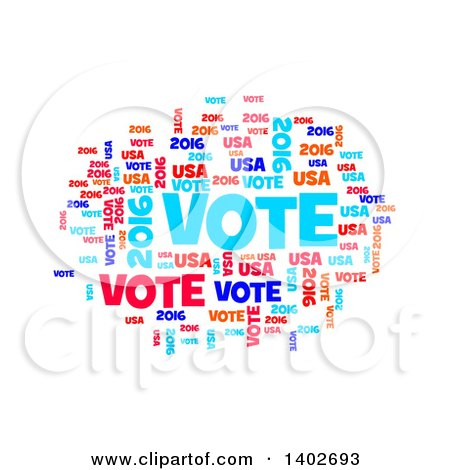 Clipart of a Red White and Blue Patriotic American Vote 2016 Word Collage on White - Royalty Free Illustration by oboy