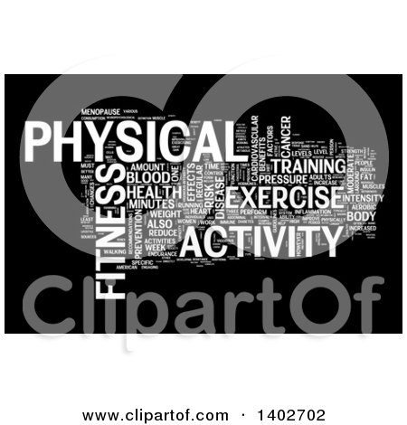 Clipart of a Fitness Activity Tag Word Collage on Black - Royalty Free Illustration by MacX