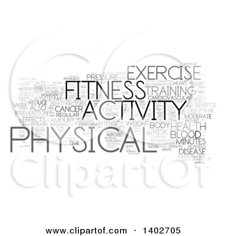 Clipart of a Fitness Activity Tag Word Collage on White - Royalty Free Illustration by MacX