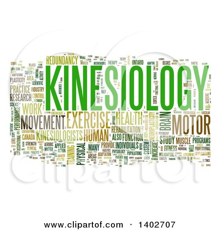 Clipart of a Kinesiology Tag Word Collage on White - Royalty Free Illustration by MacX