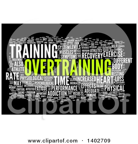 Clipart of an Overtraining Tag Word Collage on Black - Royalty Free Illustration by MacX
