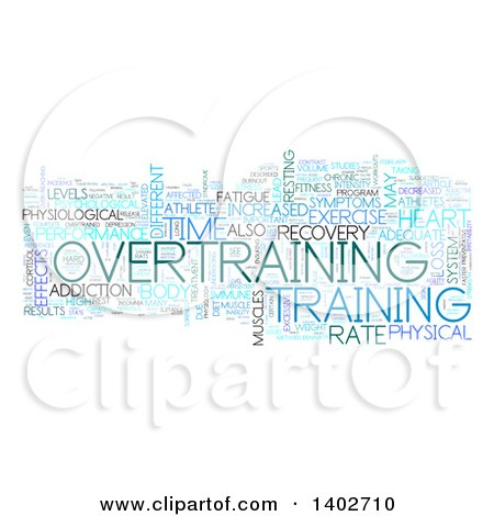 Clipart of an Overtraining Tag Word Collage on White - Royalty Free Illustration by MacX