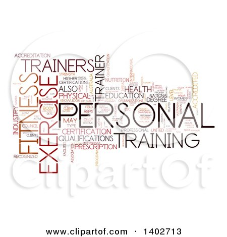 Clipart of a Personal Training Tag Word Collage on White - Royalty Free Illustration by MacX