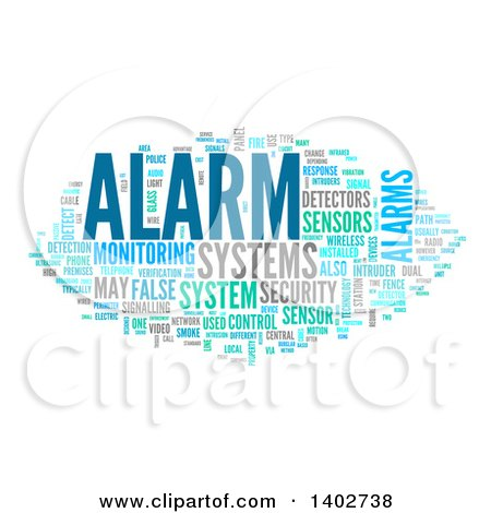 Clipart of a Security Alarm Tag Word Collage on White - Royalty Free Illustration by MacX