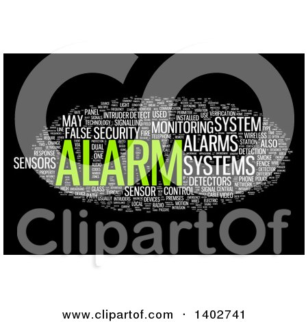 Clipart of a Security Alarm Tag Word Collage on Black - Royalty Free Illustration by MacX