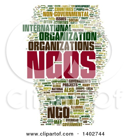 Clipart of a NGOS Non Profit Organization Tag Word Collage on White - Royalty Free Illustration by MacX