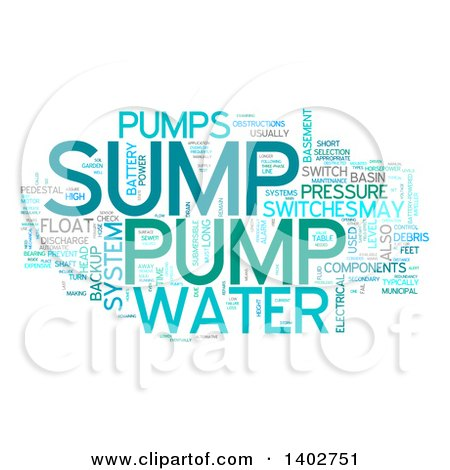 Clipart of a Sump Pump Tag Word Collage on White - Royalty Free Illustration by MacX