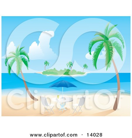 Two Palm Trees Near An Umbrella Table With A Beverage On It, With A View Of An Island In The Distance Clipart Illustration by Rasmussen Images