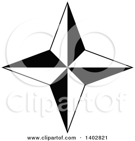 Clipart of a Black and White Star Design - Royalty Free Vector Illustration by dero