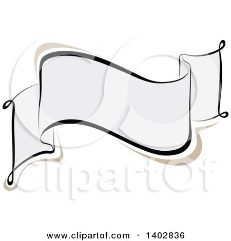 Clipart of a Blank Calligraphic Ribbon Banner Design Element - Royalty Free Vector Illustration by dero