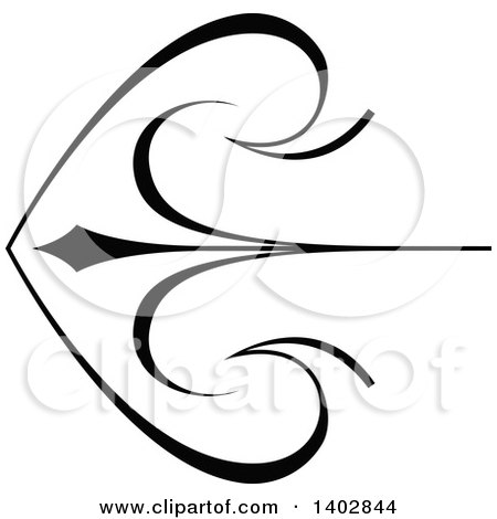 Clipart of a Black and White Archery Arrow Swirl Calligraphic Design Element - Royalty Free Vector Illustration by dero