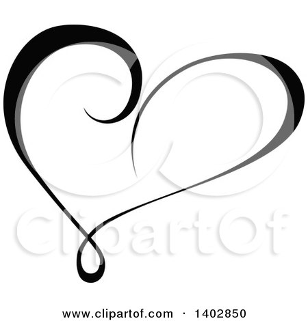 Clipart of a Black and White Heart Swirl Calligraphic Design Element - Royalty Free Vector Illustration by dero