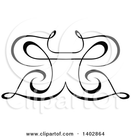 Clipart of a Black and White Swirl Butterfly Calligraphic Design Element - Royalty Free Vector Illustration by dero