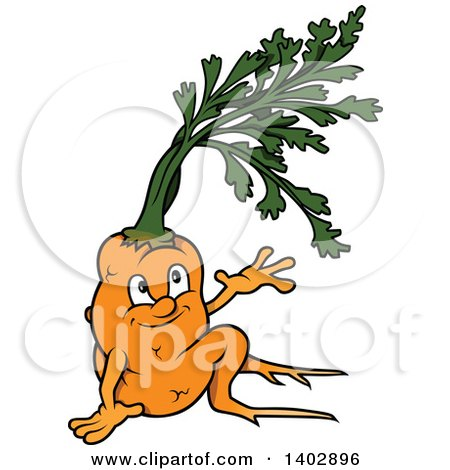 Clipart of a Cartoon Happy Carrot Character Sitting and Waving or Presenting - Royalty Free Vector Illustration by dero