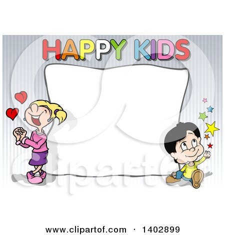 Clipart of a Boy and Girl Around a Blank Sign with Happy Kids Text on Stripes - Royalty Free Vector Illustration by dero
