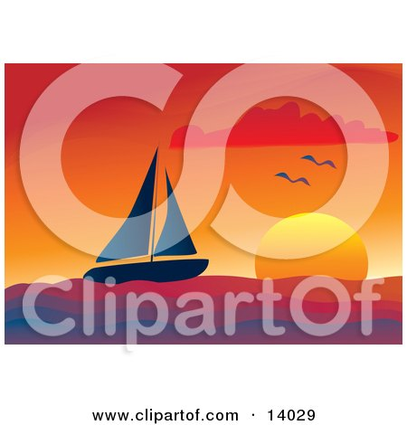 Two Seagulls Flying Over A Lone Sailboat Sailing At Sunset Clipart Illustration by Rasmussen Images