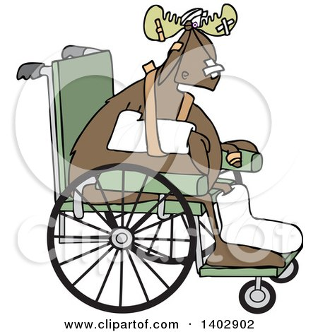Clipart of an Injured Accident Prone Moose in a Wheelchair - Royalty Free Vector Illustration by djart