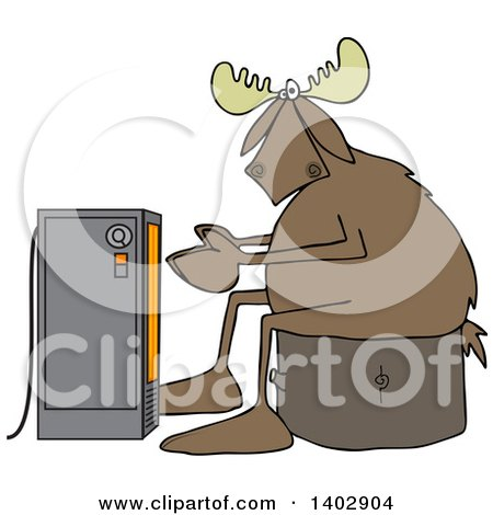 Clipart of a Cold Moose Sitting on a Stump and Warming up in Front of an Electric Space Heater - Royalty Free Vector Illustration by djart