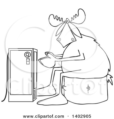 Clipart of a Black and White Lineart Cold Moose Sitting on a Stump and Warming up in Front of an Electric Space Heater - Royalty Free Vector Illustration by djart