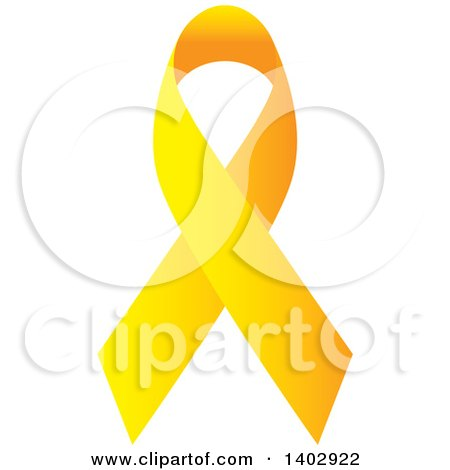Clipart of a Yellow Awareness Ribbon - Royalty Free Vector Illustration by ColorMagic