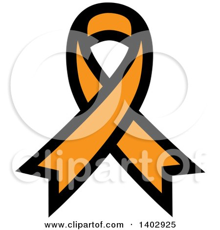 Clipart of an Orange Awareness Ribbon - Royalty Free Vector Illustration by ColorMagic