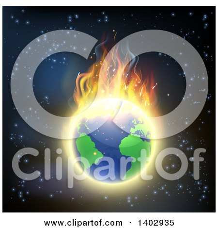 Burning Earth Globe with Bright Flames Against Outer Space Posters, Art Prints